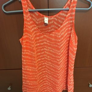 Old Navy coral & white see through tank